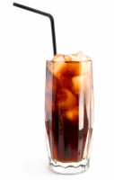 Glass of soda with a straw