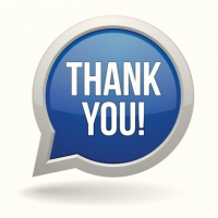 Blue round thank you speech bubble