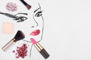 Hand-drawn woman face and make up products